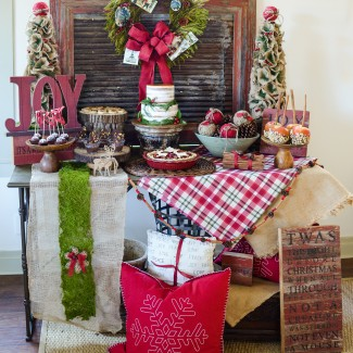 JOYful and Rustic Christmas Dessert Table